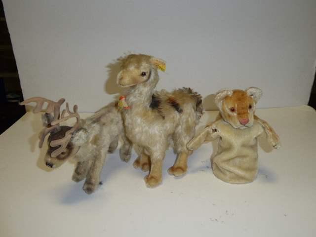 Lot # 329 - Steiff Llama, Deer & Puppet  (main image)