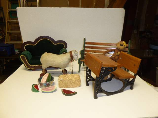 Lot # 332 - Doll Couch, Bench & Desk  (main image)