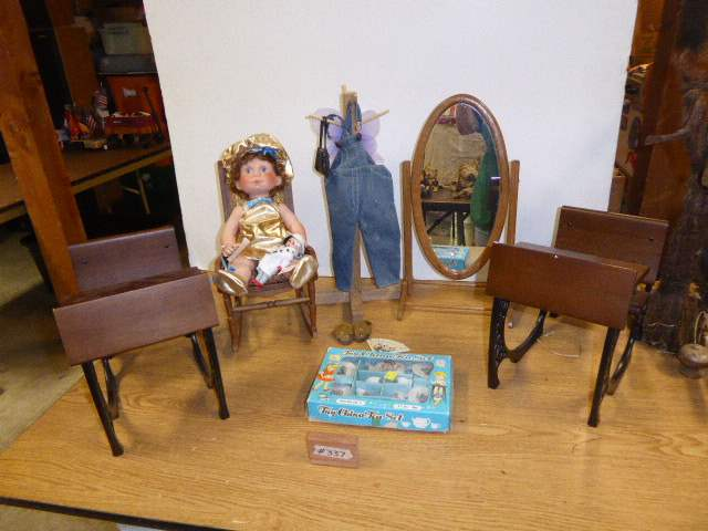 Lot # 337 - Lee Middleton Hershey's Kisses Doll, Two Wooden Doll Desks & More  (main image)
