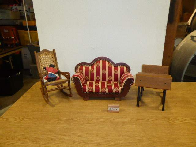Lot # 343 - Doll Couch, Desk & Chair  (main image)