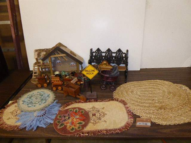 Lot # 346 - Placemats, Doll Bench, Wooden Train & Barn   (main image)