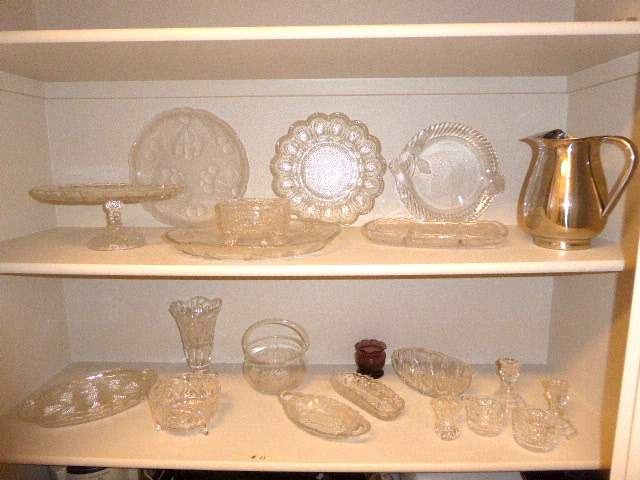 Lot # 11 - Glass Cake Plate, Serving Dishes & Metal Carafe  (main image)