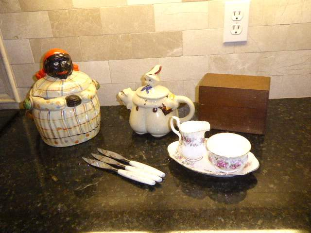 "Lot # 14 - Vintage Cookie Jar, Vintage ""Tom The Pipers Son"" Tea Pot & Three Mode Danish Knives  (main image)"