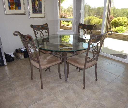 Lot # 17 - Metal Table W/Glass Top & Stone Accents & 4 Matching Chairs  (main image)