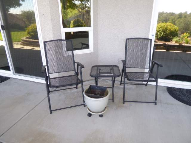 Lot # 36 - Two Metal Folding Chairs, Small Metal Folding Table & Rolling Planter  (main image)
