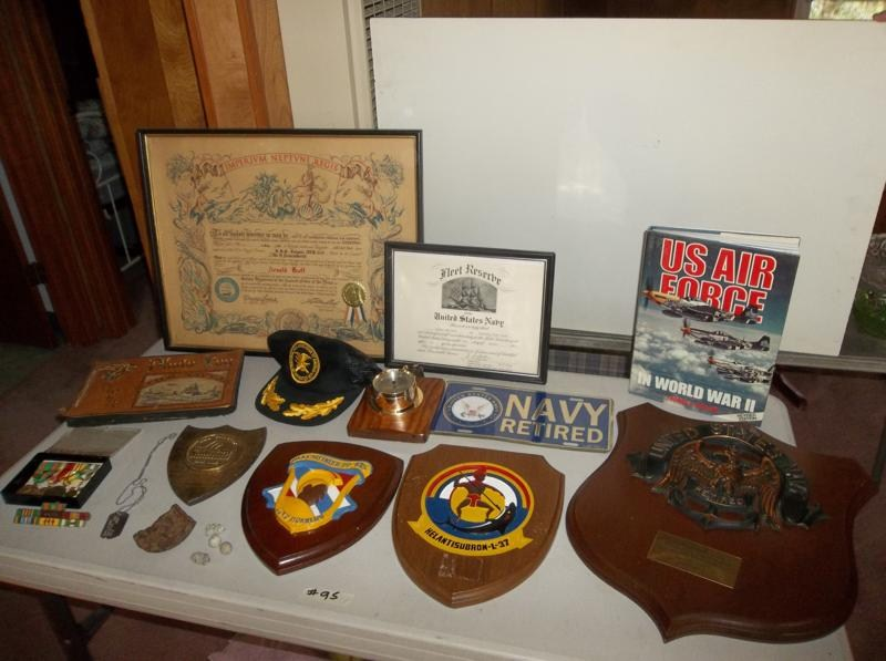 Lot #95 Interesting Vintage Military Collectible Lot: Navy Scrapbook, Medals, Plaques.... (main image)