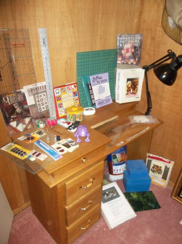 Lot #108  Vintage All Wood Sewing Cabinet, Quilting Books & Notions (main image)