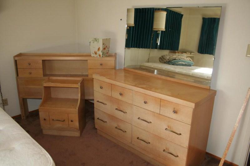 Lot #29 Vintage Solid Wood Bedroom Set: Dresser, Headboard and Night Stand (main image)