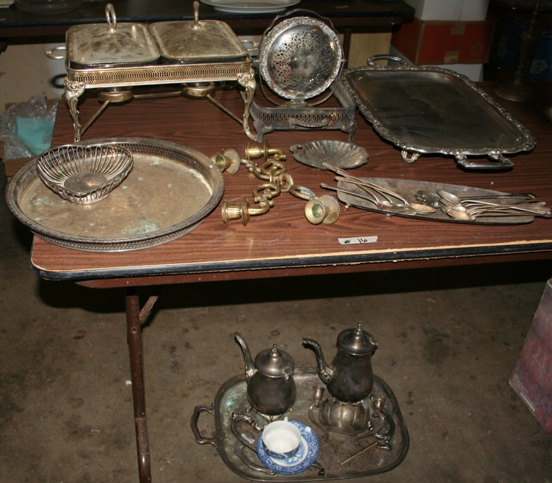 Lot #16 Vintage Silverplate Serving Pieces and Repair Lot (main image)