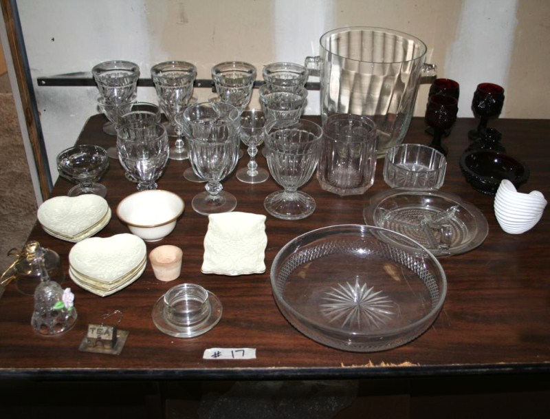 Lot #17 Mixed Glassware - Ruby Cape Cod, Stemware and More (main image)