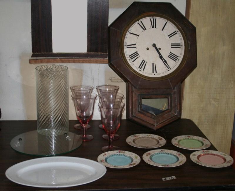 Lot #18 Vintage Wall Clock, Crown Ducal, Stemware etc (main image)