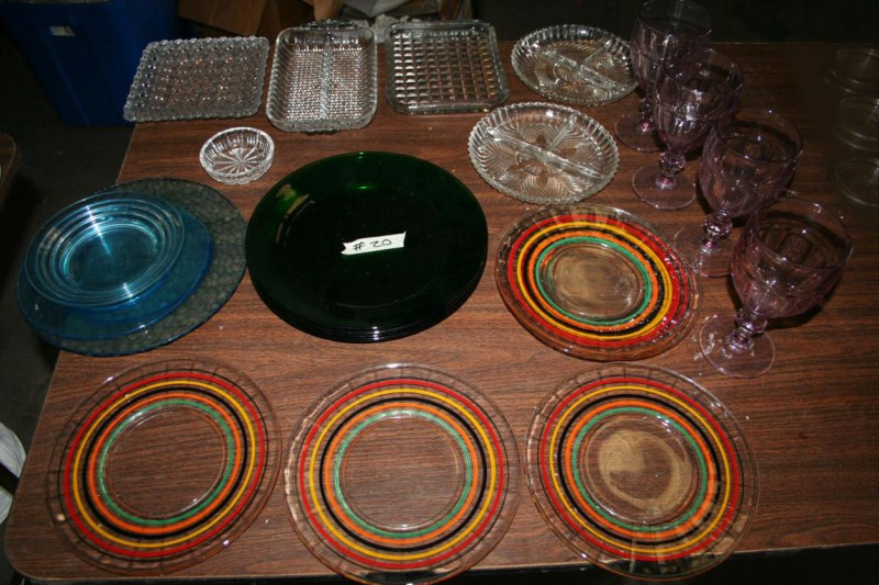 Lot #20 Anchor Hocking Banded Ring Fiesta Pattern and Forest Green Plates plus More Nice Glassware (main image)