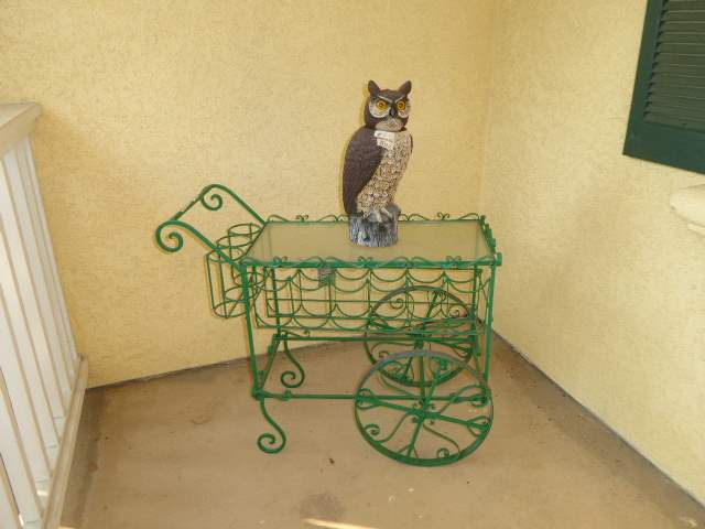 Lot # 1 - Rolling Metal Wine Cart W/Glass Top & Owl Figurine  (main image)