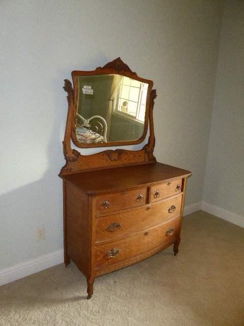 Lot # 10 - Nice Antique Wooden Dresser W/Mirror  (main image)