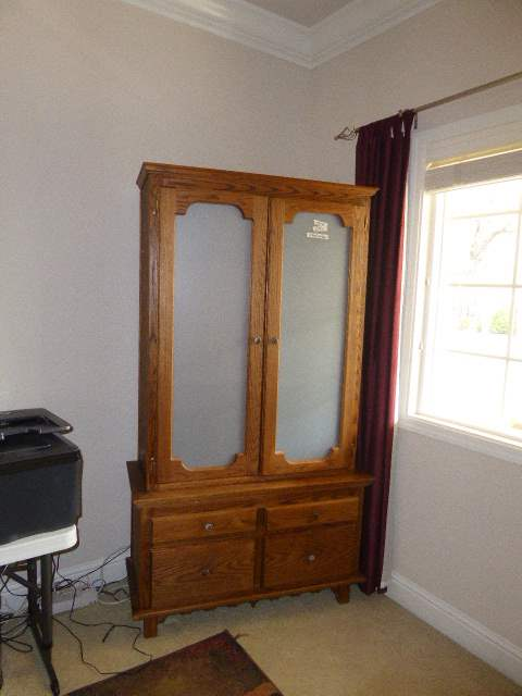 Lot # 12 - Solid Wood Cabinet W/Frosted Glass Doors  (main image)