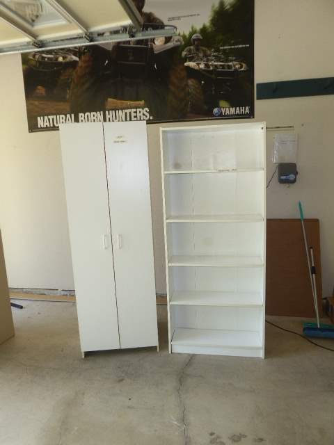 Lot # 23 - White Two Door Storage Cabinet & White Book Shelf  (main image)