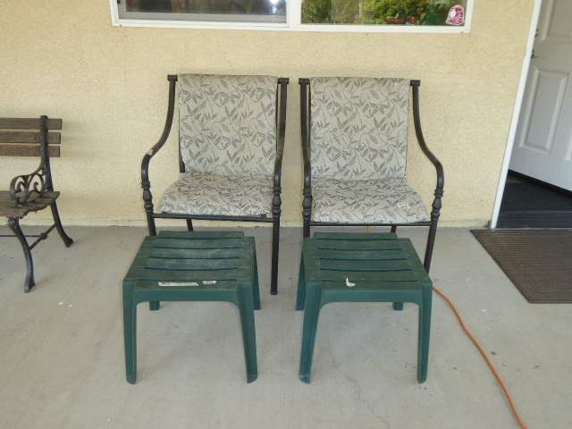 Lot # 32 - Two Outdoor Metal Chairs & Two Plastic Side Tables   (main image)