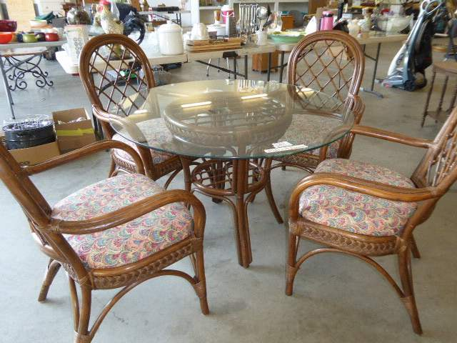 Lot # 47 - Bentwood Table & Chairs (Rounded Glass Top)  (main image)