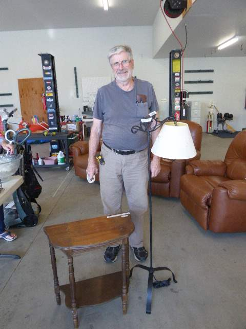 Lot # 49 - Floor Lamp & Small Entryway Table  (main image)