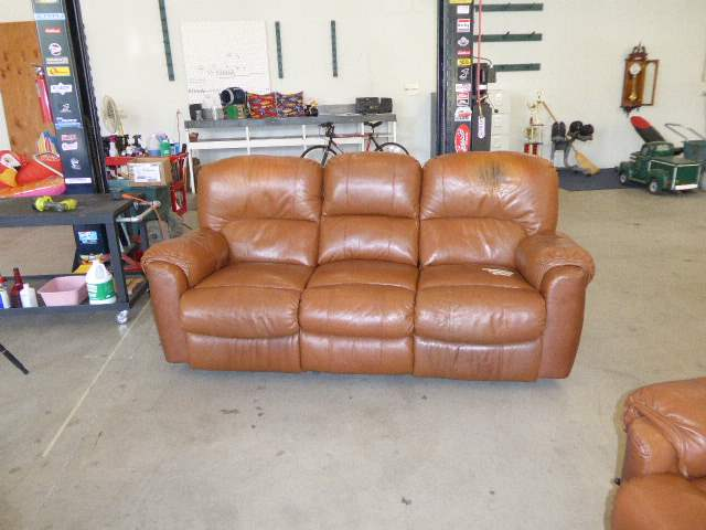 "Lot # 51 - ""Lane"" Heated Leather Recliner Couch  (main image)"