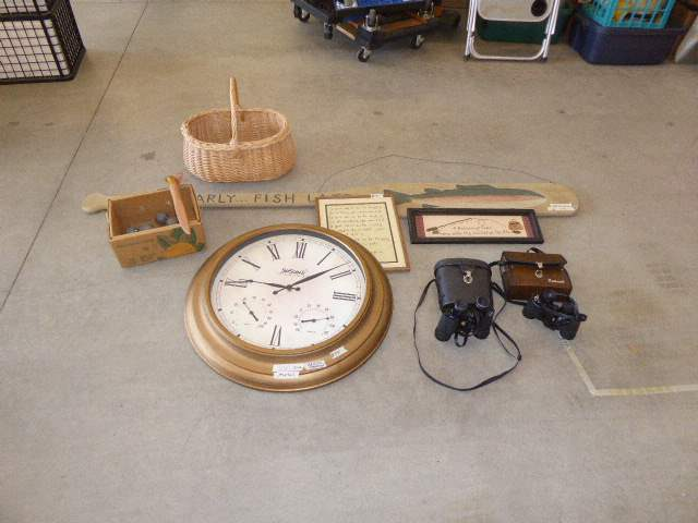 Lot # 55 - Binoculars, Clock & Fishing Decor  (main image)