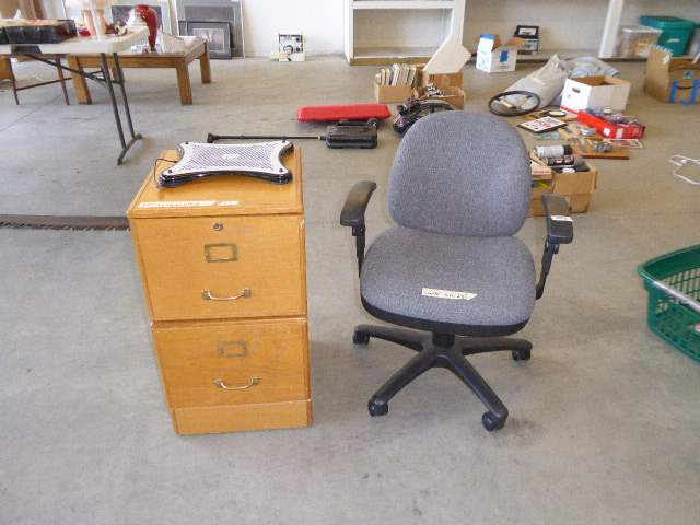 Lot # 57 - Wooden Filing Cabinet & Adjustable Office Chair  (main image)