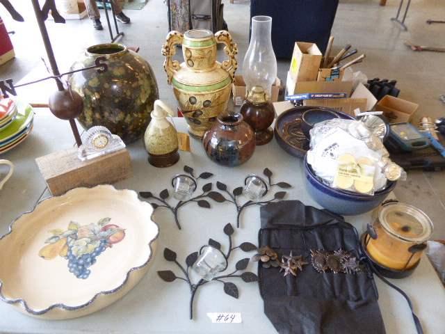 Lot # 64 - Home Decor - Kings Stoneware Horn, Vases, Serving Bowls & Lamp  (main image)