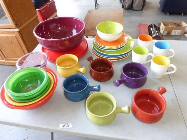 Lot # 65 - Pyrex Bowls & Colorful Ceramic Bowls & Plates  (main image)
