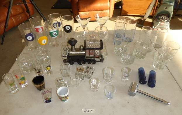 Lot # 67 - Vintage Train Music Box Decanter, Shot Glasses & Bar Glasses   (main image)
