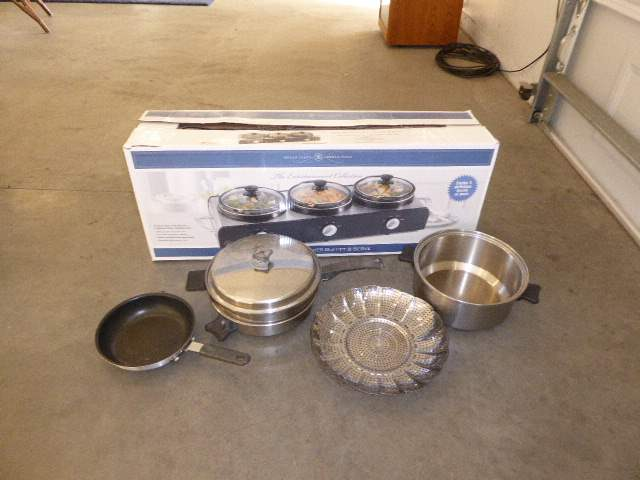 Lot # 71 - Triple Slow Cooker Buffet Server Set & Other Cookware  (main image)