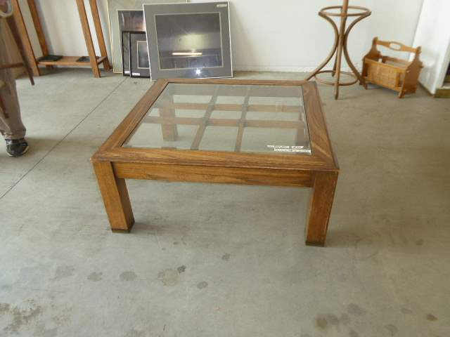 Lot # 84 - Wood Coffee Table W/Glass Top & Brass Embellishments  (main image)