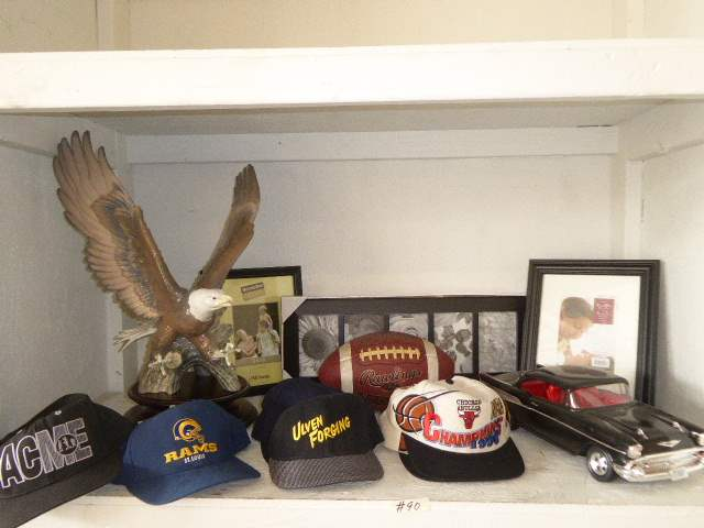 Lot # 90 - Signed & Numbered Porcelain Eagle On Wooden Stand, Signed RAMS Cap & Other Collectibles  (main image)