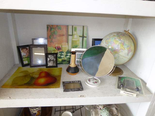 "Lot # 91 - ""Cram Antique"" Globe, Fabrice De Villeneuve Glass Tray, Leather Covered Vase & More  (main image)"