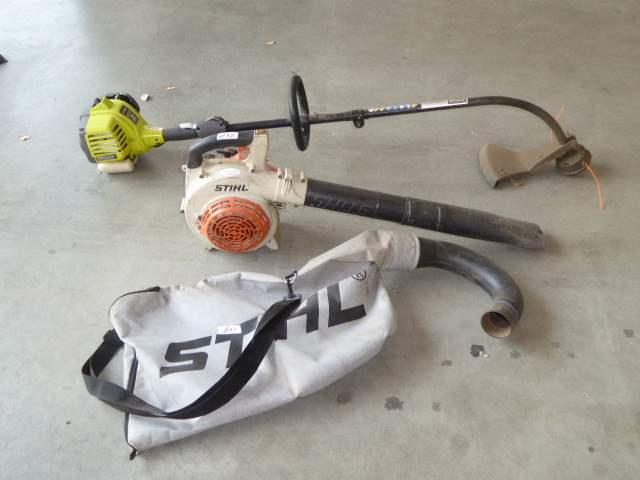 Lot # 97 - RYOBI Gas Trimmer & STIHL Gas Blower  (main image)