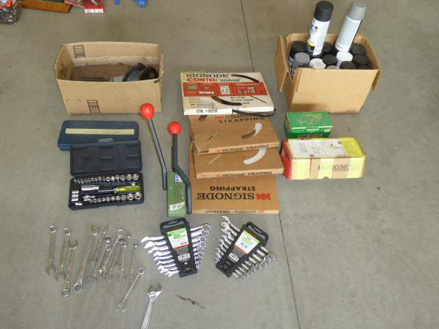Lot # 99 - Signode Strapping Tool, Signode Strapping, Spray Paint & Tools  (main image)