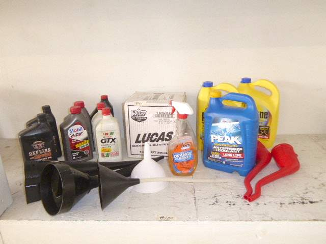 Lot # 120 - Lucas Hot Rod Oil, Motorcycle Oil, Anti Freeze & Oil Tubs  (main image)