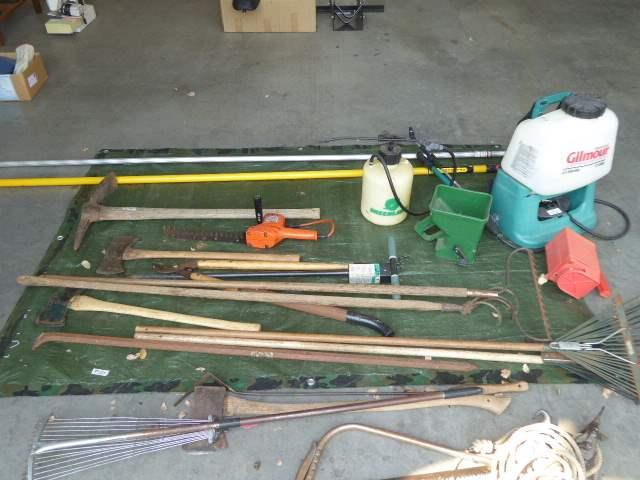 Lot # 124 - B&D Hedge Trimmer, Spreader & Sprayers & Farm Tools  (main image)