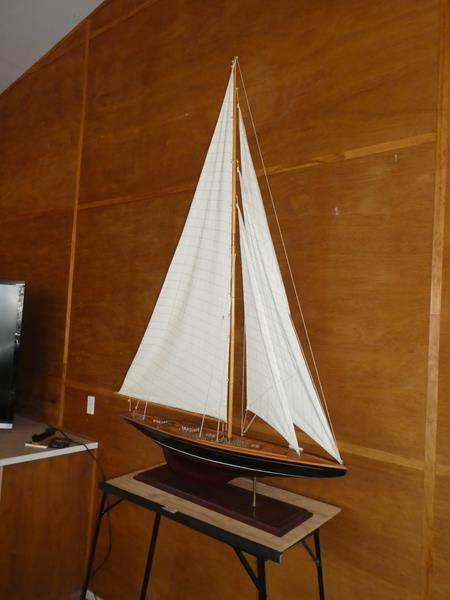 Lot # 103 - Large Hand Crafted Wooden Sail Boat (main image)