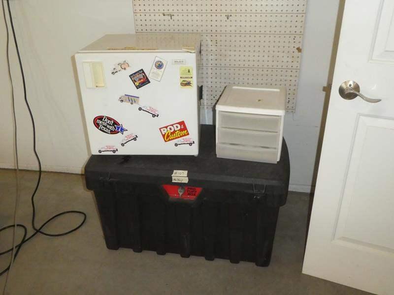 Lot # 107 - Small Admiral Garage Refrigerator & Pro Tuff Box (main image)