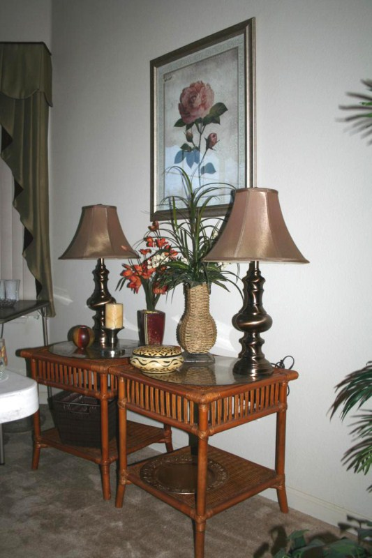 Lot #5 Pair of Lamps, Rattan End Tables, Framed Print & Decorative Accents (main image)