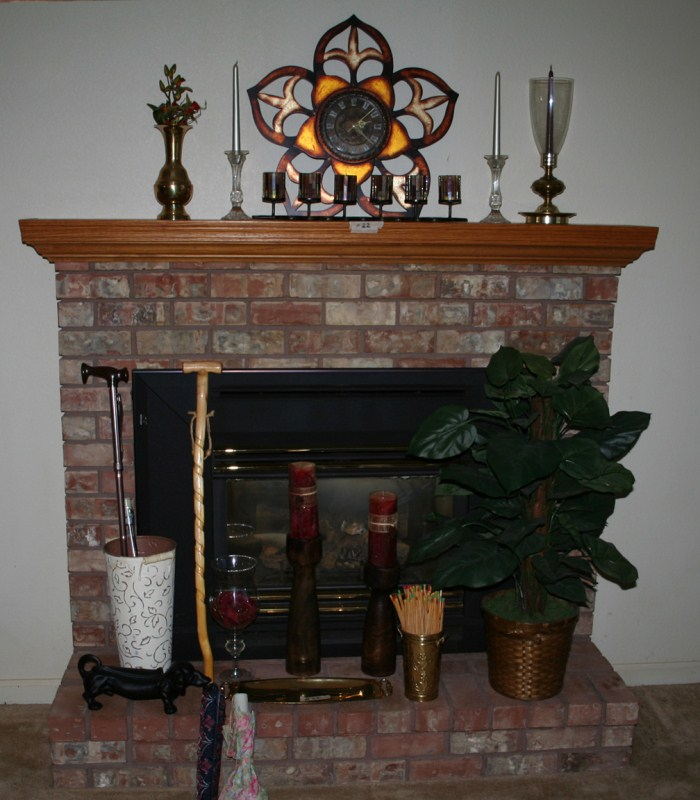 Lot #22 Lot of Nice Functional Household Decor: Clock, Candleholders, Umbrella Stand (main image)