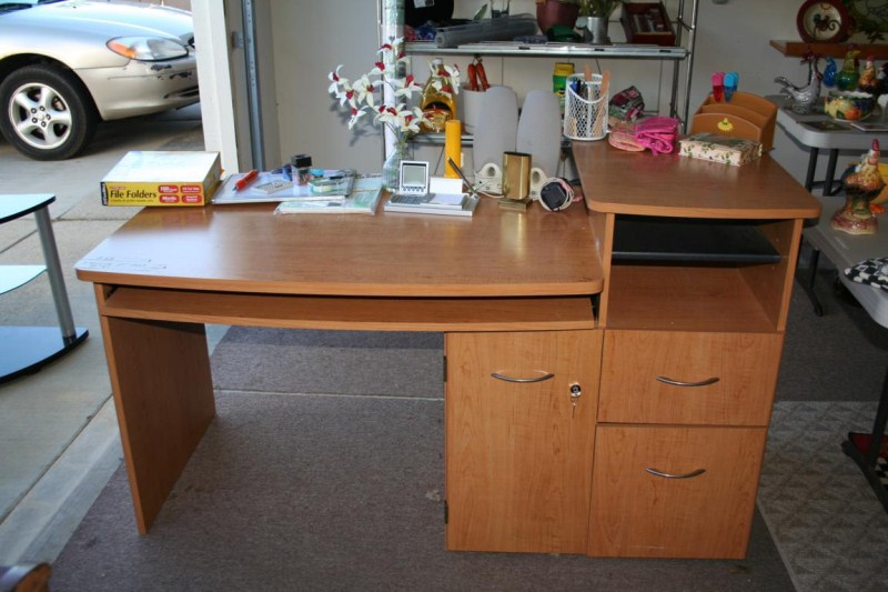 Lot #63  Functional Wooden Office Desk and Supplies (main image)