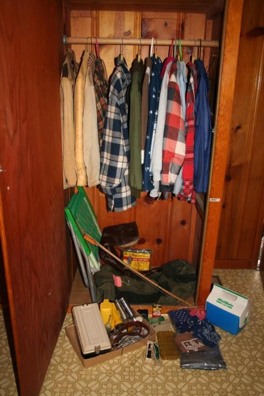 Lot #20 - Closet Lot: Coats & Flannels, Rifle Case and Gun Maintenance, Flashlights & Outdoor Gear (main image)