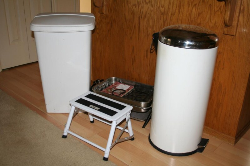 Lot #43 - Two Trash Cans, Step Stool and Electric Broiler (main image)