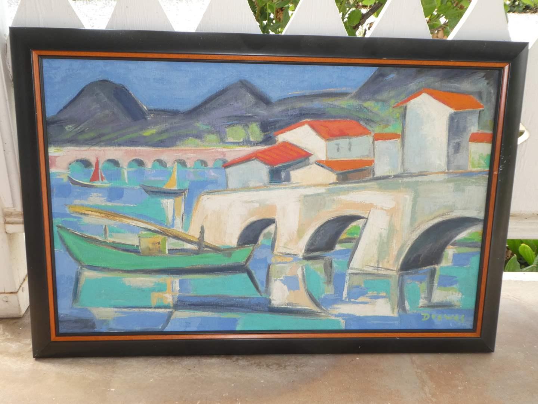 "Original Oil on Canvas "" Werner Drewes"" 1955 ""Basque Fishing Port"" -Investment Piece  - Mid Century"