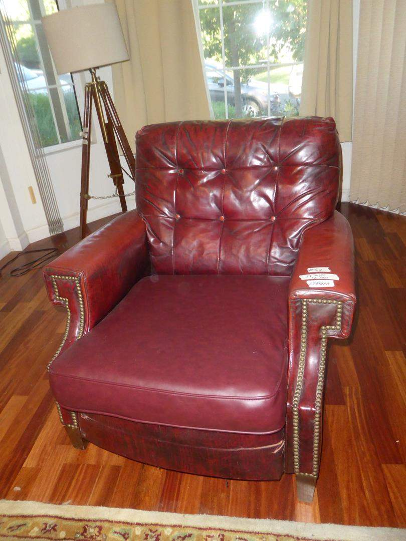 Lot # 52 - Vintage Burgundy Leather Button Tufted Arm Chair w/Nailhead Accents - Shows Wear (main image)