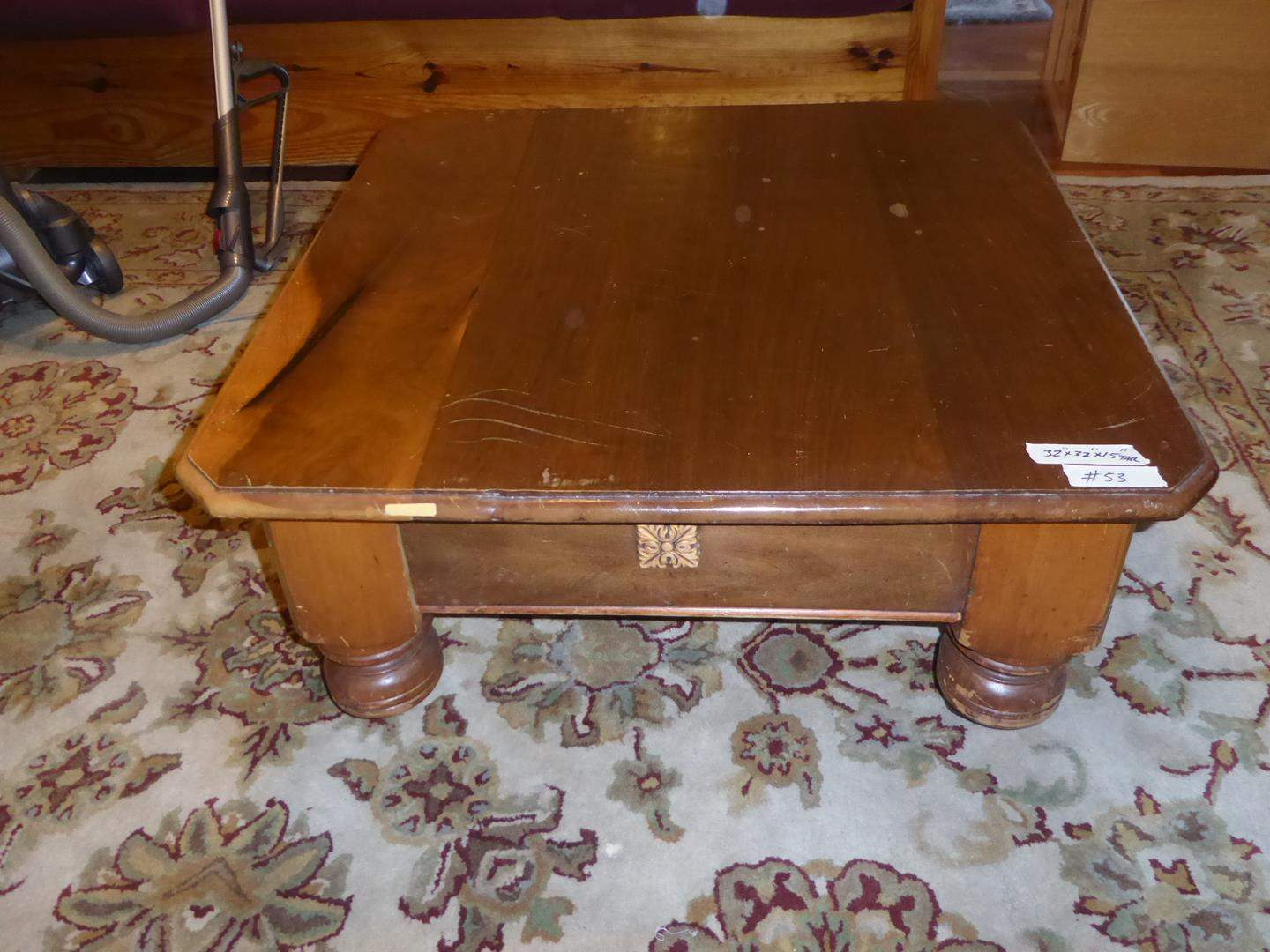 Lot # 53 - Square Vintage Wooden Coffee Table on Casters (main image)
