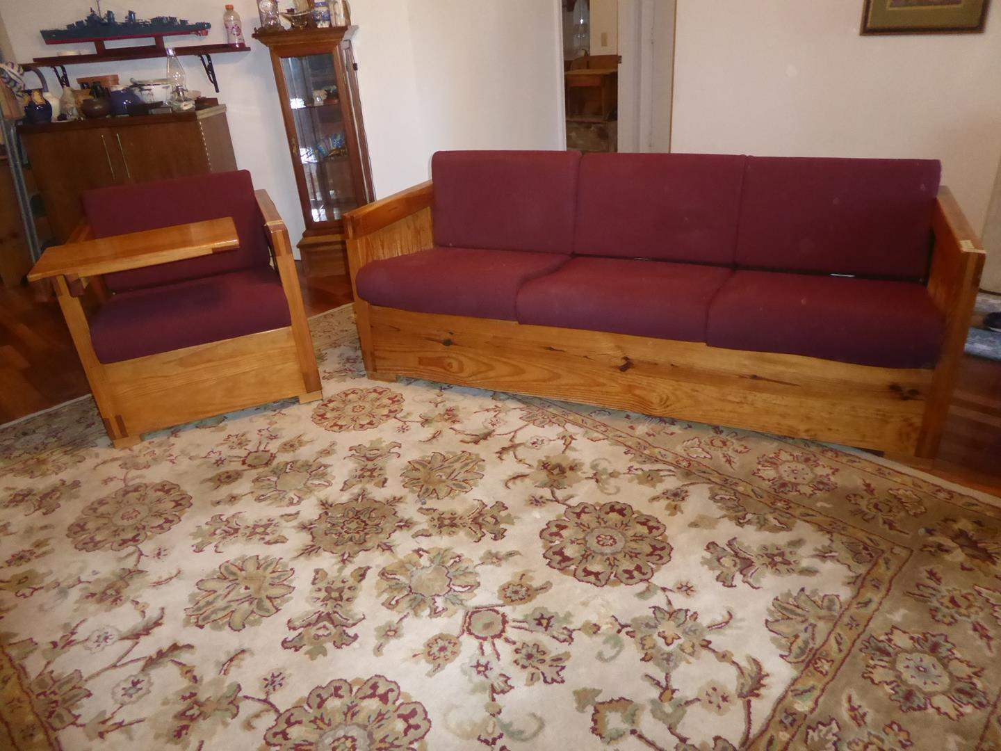 Lot # 56 - Western Style Wood Framed Couch & Matching Chair w/Burgundy Cushions & Removeable Tray (main image)