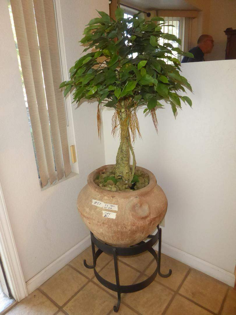 Lot # 57 - Artificial Ficus Tree in Clay Pot on Metal Stand (main image)