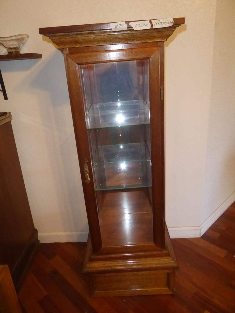 Lot # 70 - Vintage Wood & Glass Lighted Display Cabinet (main image)